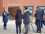 Miss Green being interviewed at Benenden for Films.jpg